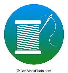Thread with needle sign illustration. Vector. White icon in...