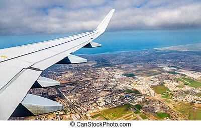 Aerial view of Casablanca from a landing airplane