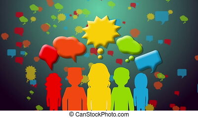 Group of people with speech bubbles - Group of people with...