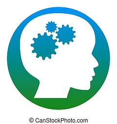 Thinking head sign. Vector. White icon in bluish circle on...