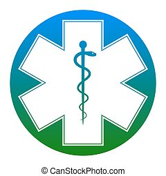 Medical symbol of the Emergency or Star of Life. Vector. White icon in bluish circle on white background. Isolated.