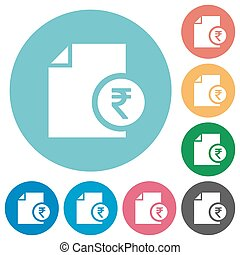 Indian Rupee financial report flat round icons - Indian...