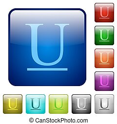 Underlined font type square flat icons color square buttons...