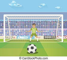 Soccer. Goalkeeper, vector illustration of a goalkeeper prepares to take a penalty