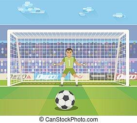 Soccer. Goalkeeper, vector illustration of a goalkeeper...