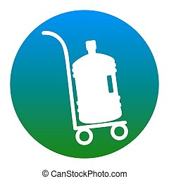 Plastic bottle silhouette with water. Big bottle of water on track. Vector. White icon in bluish circle on white background. Isolated.