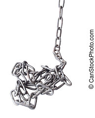 Old metal chain - Metal chain and lock on white background