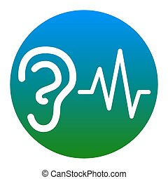 Ear hearing sound sign. Vector. White icon in bluish circle...