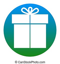 Gift sign. Vector. White icon in bluish circle on white...