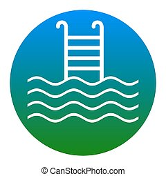 Swimming Pool sign. Vector. White icon in bluish circle on...