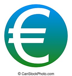 Euro sign. Vector. White icon in bluish circle on white...