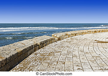 Mediterranean Sea in Akko - Promenade along the...