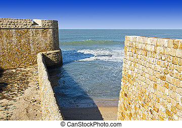 Walls of Akko in Israel. - The city beach located adjacent...