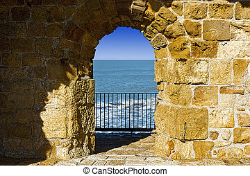Walls of Akko in Israel - The city beach located adjacent to...