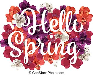 Vector handlettering hello spring with colorful flowers in...