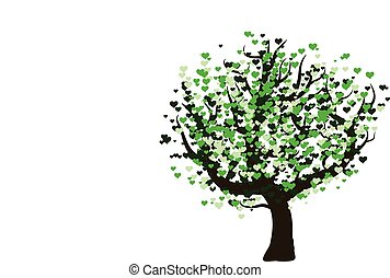 Green vector tree with hearts