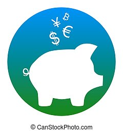 Piggy bank sign with the currencies. Vector. White icon in bluish circle on white background. Isolated.