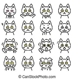cat expressions 01 - white cat expressions, vector file