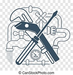 Icon Plumbing Black - Icon Plumbing in the linear style....