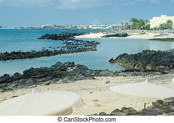 Black Volcanic Rock along the Coastline of Lanzarote,...