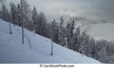 Ski slopes on North slope Aibga Ridge Western Caucasus at...