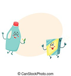 Funny detergent bottle and washing powder characters with...
