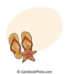Pair of flip flops and starfish, symbols of beach vacation,...