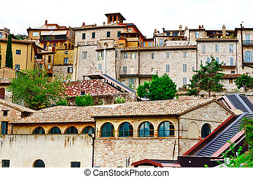 Assisi - View to Historic Center City of Assisi in Italy