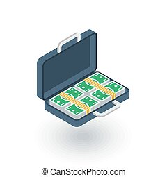 money full case, banking, dollar cash, finance isometric flat icon. 3d vector