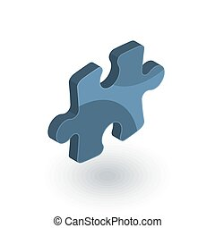 puzzle part, jigsaw piece, solution isometric flat icon. 3d vector