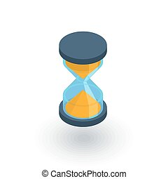 timer, sand hourglass, glass clock isometric flat icon. 3d vector