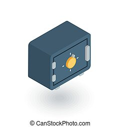 safe, banking, money security, cash protection isometric flat icon. 3d vector