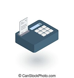 cash register isometric flat icon. 3d vector