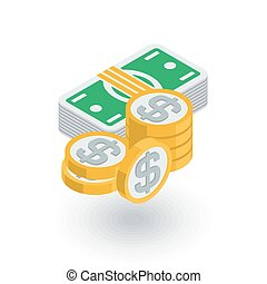 banking, money, dollar banknotes and coins isometric flat icon. 3d vector