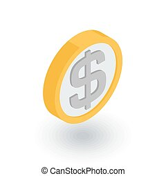 coin dollar, money, finance, currency isometric flat icon. 3d vector
