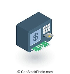 ATM, banking, dollar cash, card money, finance isometric flat icon. 3d vector