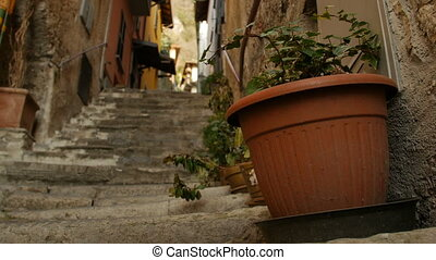 Decorative pots with flowers on the street of Italian town....