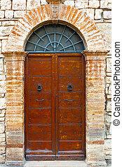 Italian Door - Wooden Ancient Italian Door in Historic...