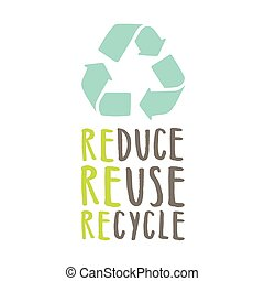 Reduce, reuse, recycle. Sign and hand drawn lettering....
