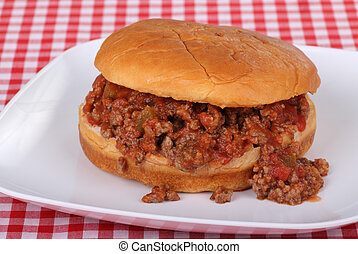 Salsa Sloppy Joe - Sloppy joe made with salsa on a bun