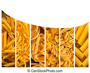 different kinds of italian pasta. Food collage - The...