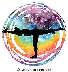 Women silhouette. Warrior 3 yoga pose. Virabhadrasana 3