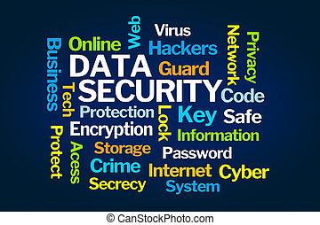 Data Security Word Cloud on Blue Background