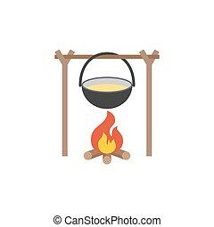 Black Camping pot over a bonfire, flat design vector