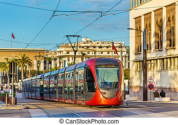 City tram on a street of Casablanca, Morocco - City tram on...