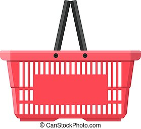 Red plastic shopping basket. vector illustration in flat...