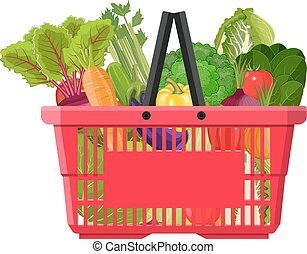 Full basket with different healthy food. Supermarket...
