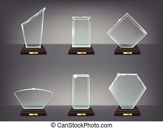 Collection vector illustration of modern glass trophies,...
