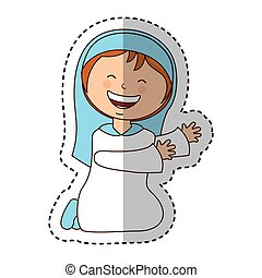 virgin mary manger character vector illustration design