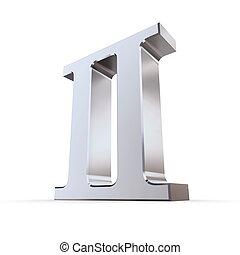 métallique, romain, chiffre, 2